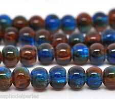 20 perles en verre craquelé 6 mm transparent  rouge et bleu