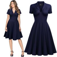 Women's Midi V Neck Collared Swing Dress, Only in available in Navy Blue