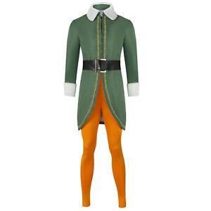 Elf Cosplay Adult Men Women Christmas Green Fancy Dress Costume Xmas Outfits