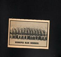 11971* 1962 Topps CFL # Blue Bombers Team  (unmarked)