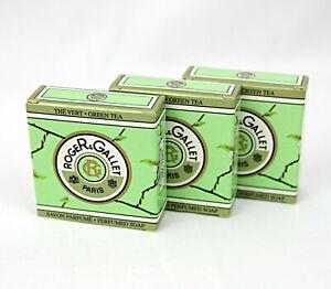 Roger & Gallet Paris Green Tea Travel Size Perfumed Soap Bars .9 oz 25g Lot of 3