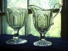 Grape & Magnet Pattern - Footed Creamer & Sugar Bowl (Imperial Glass Co)