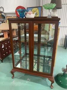 H42009 Vintage Timber and glass Display Cabinet Cupboard