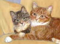 BCB Orange Tabby & Tabby Cat Together Print of Painting ACEO 2.5 x 3.5 Inch