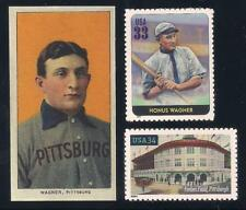 HONUS WAGNER - T206 REPRINT CARD + 2 U.S. POSTAGE STAMPS - FORBES FIELD PIRATES