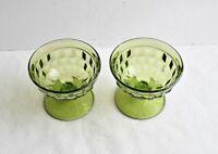 Set of 2 Whitehall sherbets /Green Cube glass Pattern/ Green dessert goblets