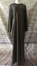 All That Jazz  Vintage 90's Brown Black Knit Long Sleeve Modest Maxi Dress Sz 14