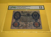 PMG Germany, Imperial Bank Note Pic25a 1906 20 Mark 15 Choice Fine