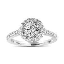 Platinum Diamond Engagement Ring Gia Certified Bridal Ring Halo Pave 1.55 Carat