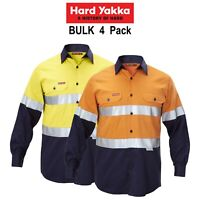 Mens Hard Yakka Work Shirt 4 Pack Hi-Vis Taped Safety Long Sleeve Cotton Y07990