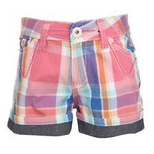 Complices fille short carreaux roses/bleus/orange/blanc revers jeans 2 ans neuf