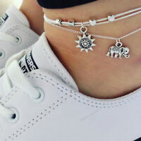 Women Silver Plated Two Layer Star Anklets Foot Feet Bracelets Chain Leg Jewelry