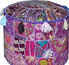 Purple Bohemian Vintage Patchwork Indian Pouf Large Round Ottoman Seat Moroccan
