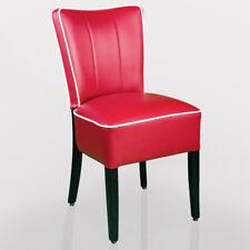 [C11y] AMERICAN Bistro Stuhl | Leder | Rot + Weiß | Holz Wenge  | Restaurantstuh