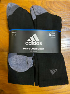 Brand New Adidas Mens Athletic Crew Sock Pack of 6 Black Grey
