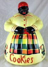 MCCOY COOKIE JAR BLACK AMERICANA WOMAN WITH YELLOW DRESS PLAID APRON ROOSTERS