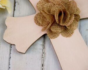Shabby cottage chic blush pink & brown embellished painted wooden wall cross