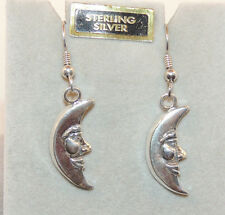Sterling Silver Cresent Moon  Wire earrings 7/8x3/8  (11162)
