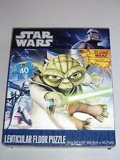 "RARE Star Wars Clone Wars Yoda w/Light Saber 24"" x 18"" Lenticular Floor Puzzle!"