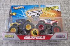 Off Road Monster Jam Demolition Doubles Wolverine and Captain America Trucks