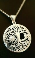 Sterling Silver 925 Celtic Tree Of Life Sun Moon Circle Pendant Necklace Chain.