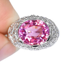 PADPARASCHA SAPPHIRE OVAL RING SILVER 925 HEATING 5.70 CT 11.4X9.9 MM. SIZE 8.25