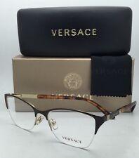 New VERSACE Eyeglasses VE 1218 1344 53-17 Semi-Rimless Brown Gold Havana Frames