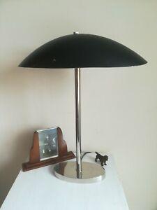 Art Deco Style Lamp UFO Mushroom Shape Black Dome Chrome Stand