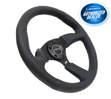 NRG Racing Steering Wheel 6 Holes 350mm Black Leather Black Spokes RST-023MB-R