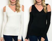 LongSleeve Open Twisted Cold Shoulder Blouse Top Black or Ivory