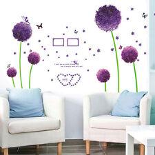 Purple Dandelion Flowers Butterfly Removable Vinyl Decal Art Mural Wall Stickers