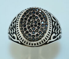 MENS STERLING SILVER PAVÉ BLACK CUBIC ZIRCONIA CZ RING WITH FANCY SIDES SIZE 11