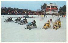 Championship Skimobile Snow Mobile Machine Racing In New England Postcard