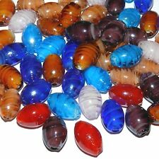 G4142 Assorted Color Inner Twist 18mm Oval Barrel Lampwork Glass Beads 18pc