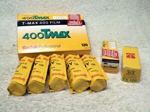7 ROLLS 120 Size Photography B&W FILM. KODAK TMax TMY & Tri-X. 1975-2013 Expired