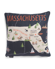 """Envogue Embroidered Massachusetts Map Decorative Pillow Navy Blue 20"""" x 20"""" Nwt"""