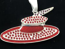 Christmas Harvey Lewis Ornament Accented With Swarovski Crystals Luxe Red Silver