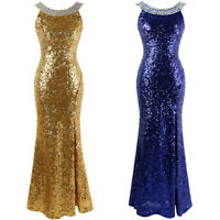 Angel-fashions Round Neck Beading Sequin Backless Slit Party Dress Blue Gold 090