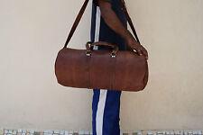 "22"" Leather Duffle Barrel Hold-All Bag Gym Sports Weekend Travel Luggage Handbag"