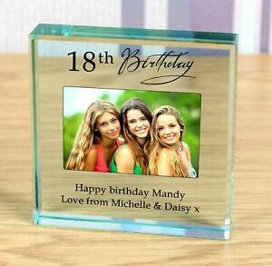 18th or 21st Birthday personalised gift Glass photo Paperweight