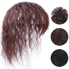 100% Human Hair Curly Wavy Topper Toupee Clip Hairpiece Top Wigs For Women US