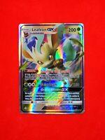13/138 RARE carte card holo Pokemon LEAFEON GX HP anglaise replica