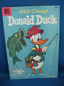 DONALD DUCK 54 F VF DOUBLE COVER BARKS FORBIDDEN VALLEY FISHING CVR 1957