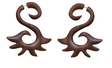 Wood Earring Faux Cheater Wer082 Wooden Handmade Body Piercing Fake Guage