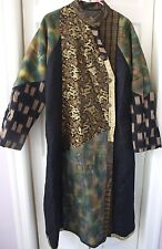 VERY ECLECTIC CLOTHING LISA MICHAELS Coat LONG MULTI TEXTURED FABRICS Small