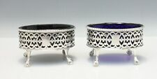 English Sterling Silver Pair Salt Cellars w/ Glass Liners London 1778