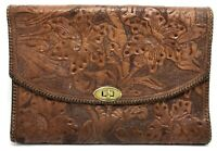 Vintage Hippy Boho Brown Hand-Tooled Floral Leather Purse Bag; Mexico (RF959)