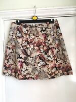 Coast size 12 beige floral patterned lined a-line skirt two side pockets