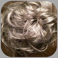 Grey Hair Scrunchie Hair Piece for bun or Ponytail Salt & Pepper Colour