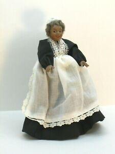 African American Porcelain Woman Doll Black Dress w/ Apron Dollhouse Miniature